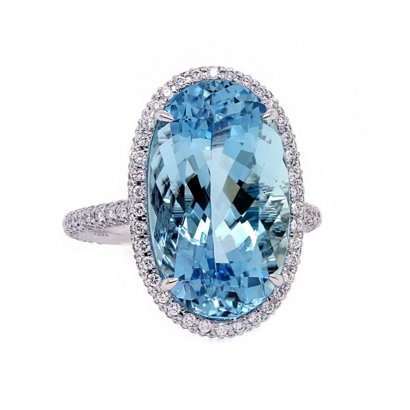 Aquamarine Three Sided Halo Diamond Ring