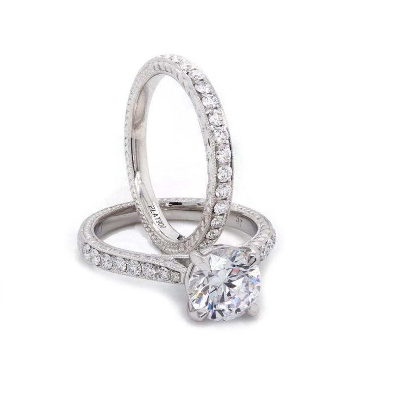 Engraved Pave Diamond Wedding Set