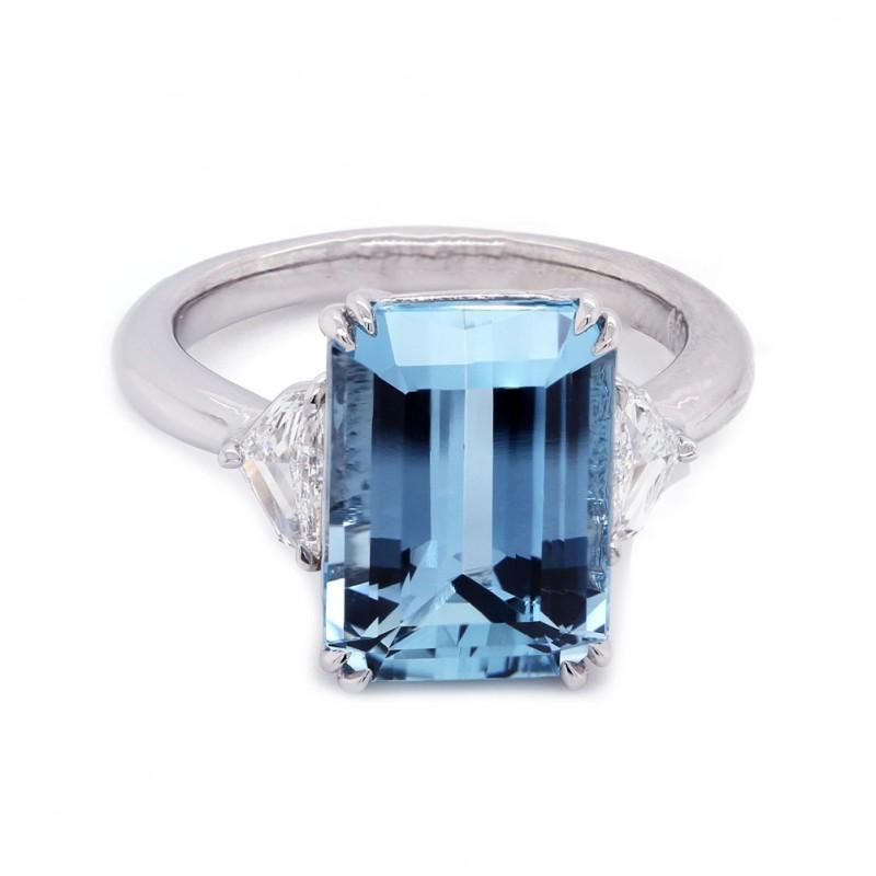Emerald Cut Aquamarine Three Stone Ring