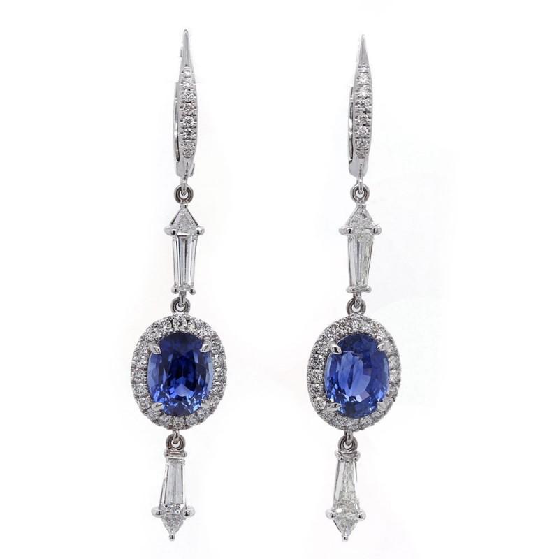 Oval Blue Sapphire Drop Earrings