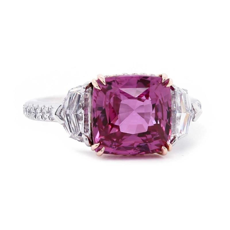 Vivid Pink Sapphire & Diamond Ring
