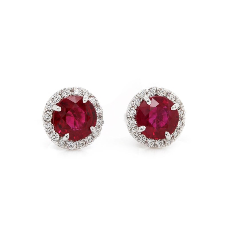 Ruby Halo Earrings