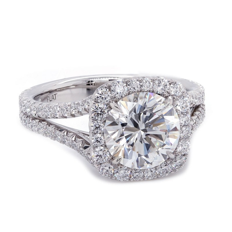 Cushion Halo Split Shank Engagement Ring