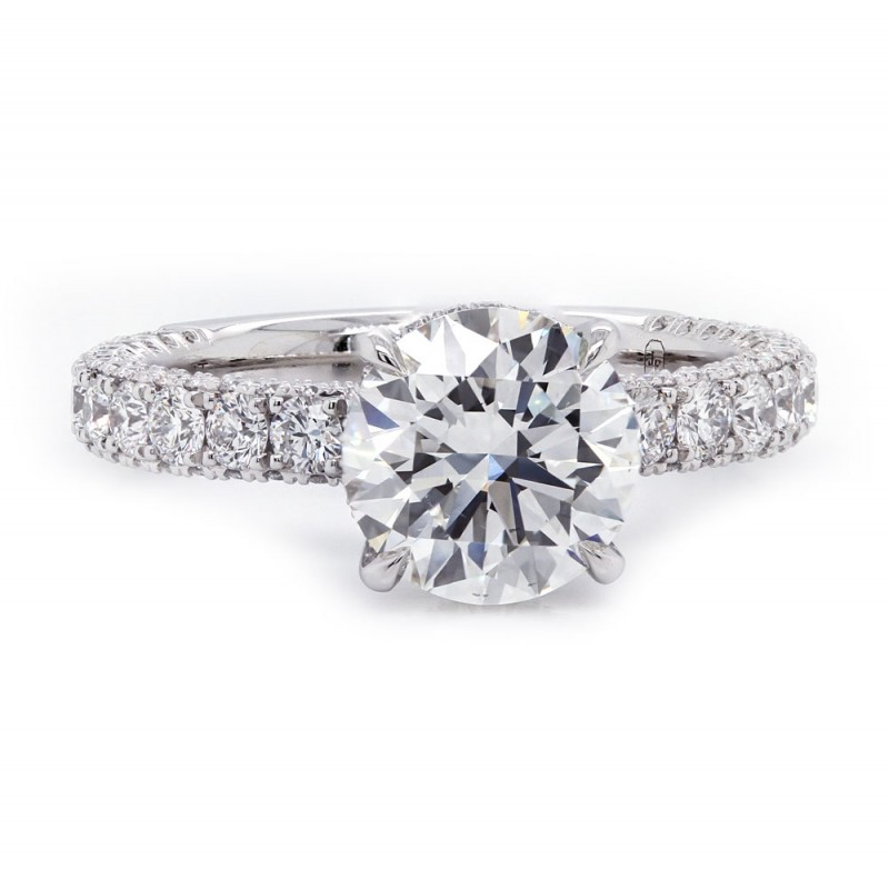 Three Sided Pave Diamond Engagement Ring