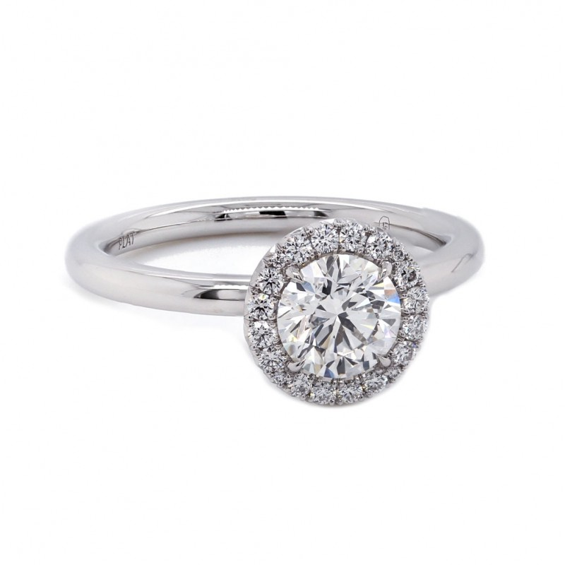 Diamond Halo Solitaire Engagement Ring