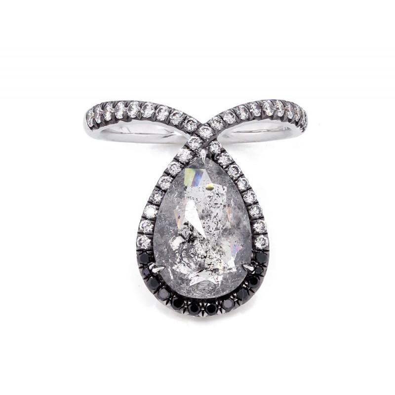 Rustic Pear Shape Diamond Ombre Ring
