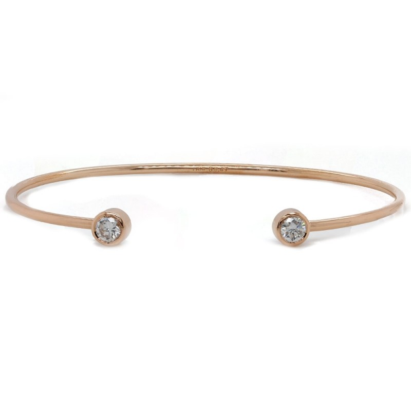 Rose Gold Diamond Cuff Bangle Bracelet
