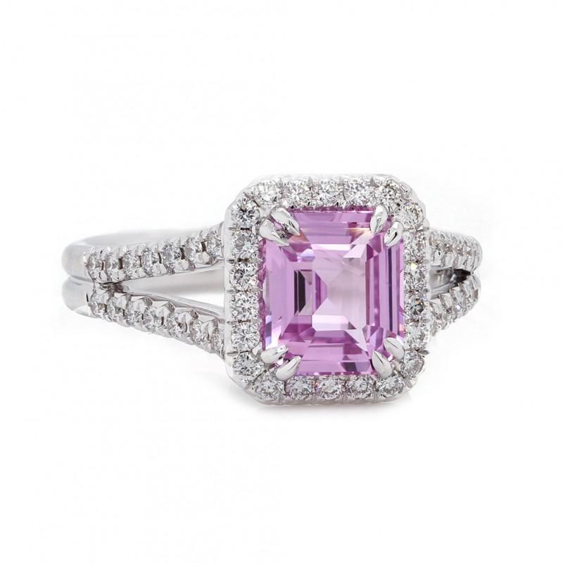 Pink Sapphire Emerald Cut Halo Ring