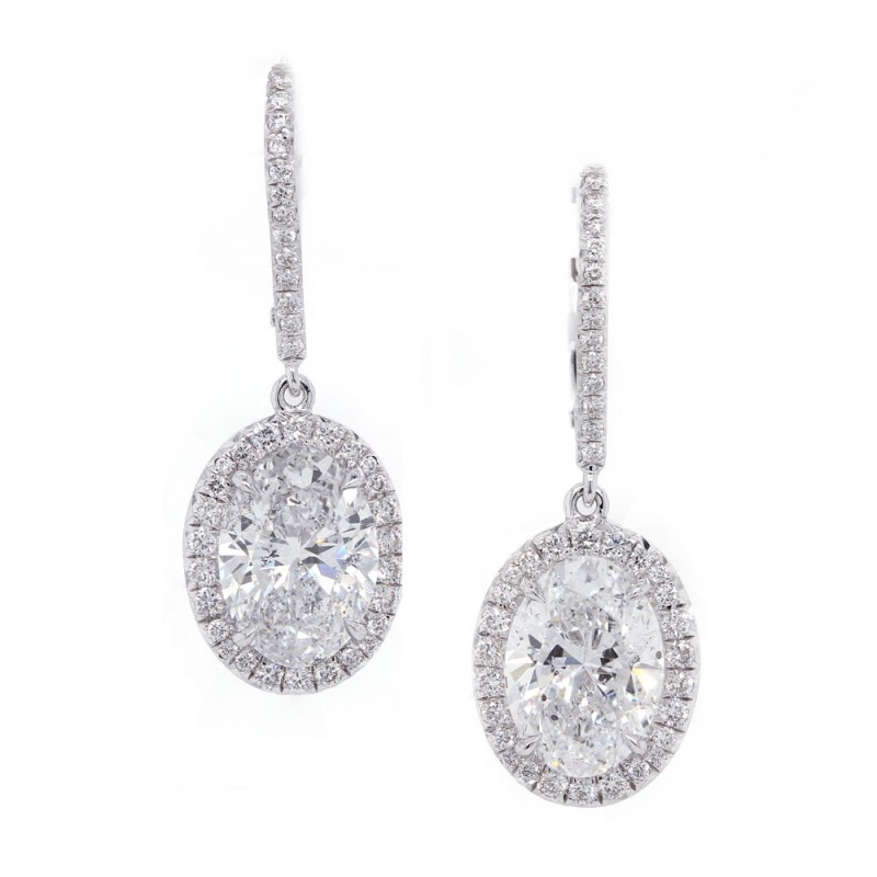 Oval Diamond Halo Drop Earrings