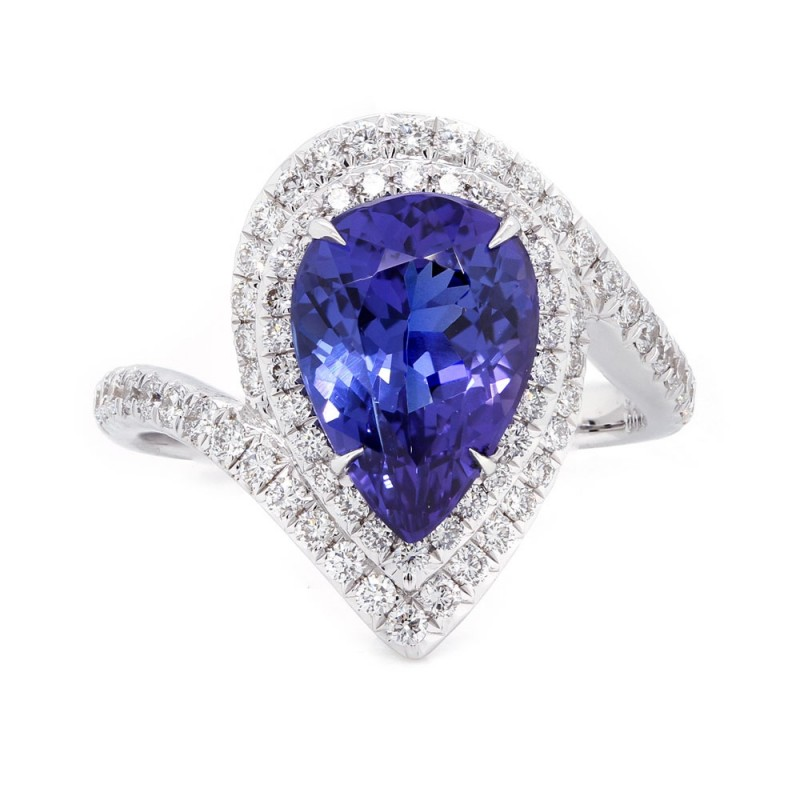 Pear Tanzanite Halo Bypass Ring