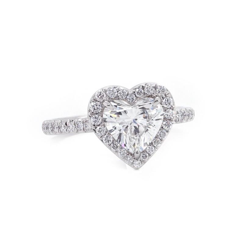 Heart Diamond Halo Engagement Ring