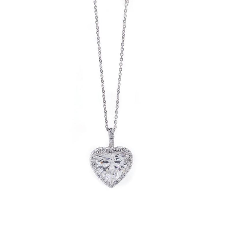Heart Diamond Halo Pendant 2.01 ct