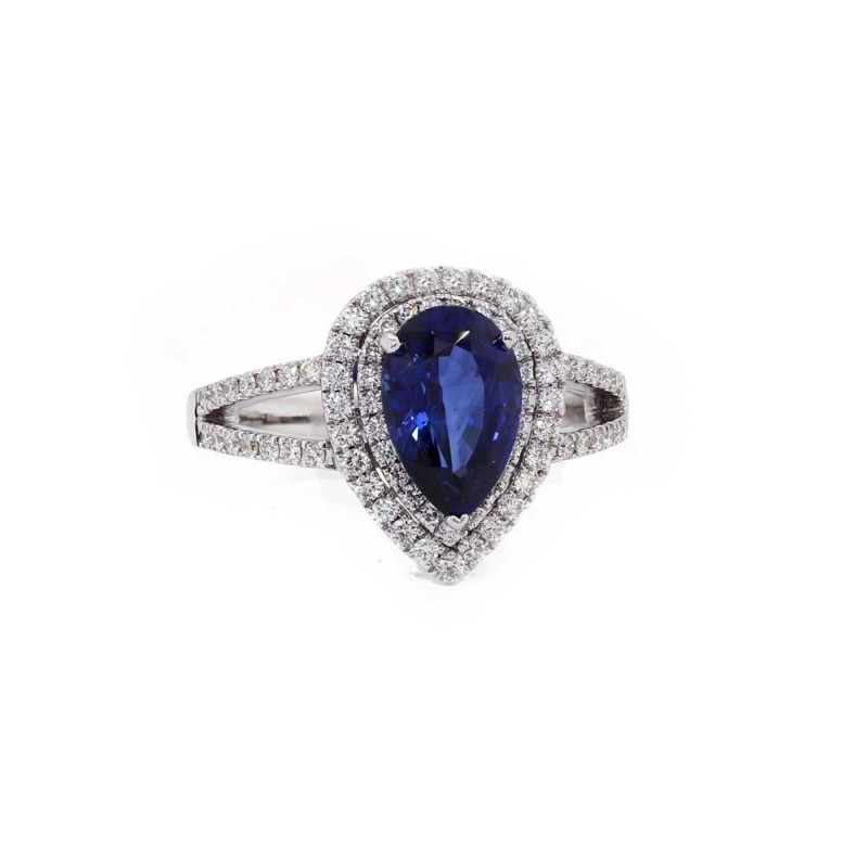 Pear Sapphire Double Halo Ring