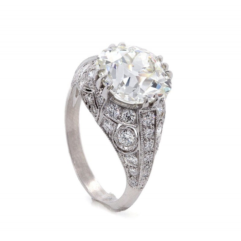 Mine Cut Diamond Filigree Ring