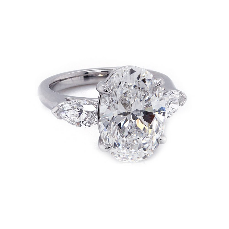 Oval Engagement Ring with Pear Shape Sides