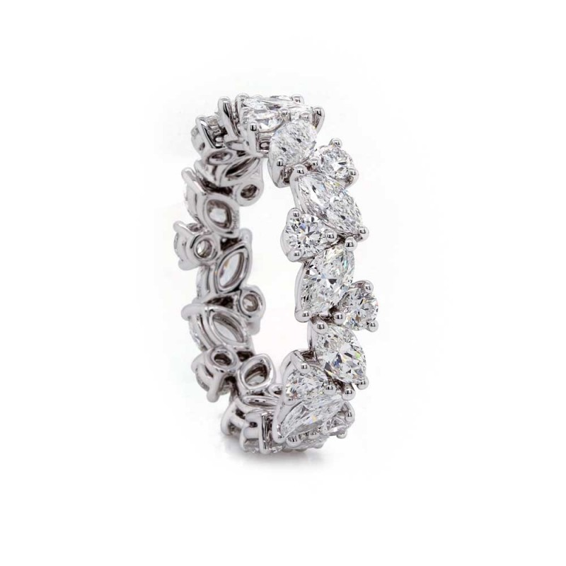 Tilted Marquise and Round Diamond Eternity Band