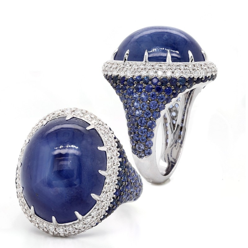 Blue Star Saphire Winter Ring