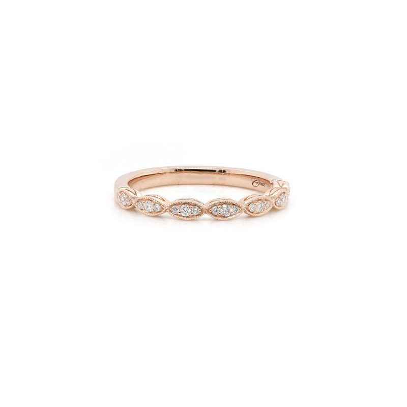 Rose Gold Scalloped Diamond Band