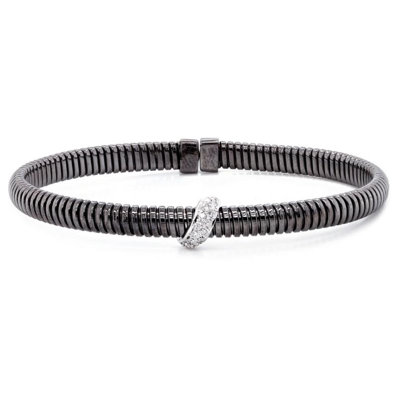 Black Rhodium Diamond Bangle Bracelet