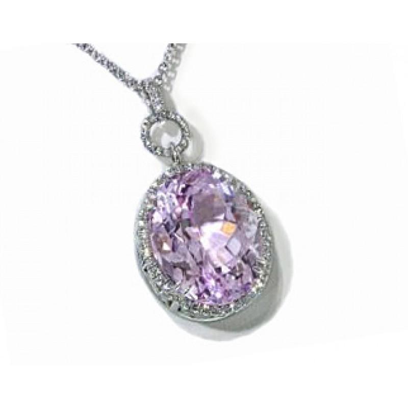 Oval Kunzite pave' diamond border pendant