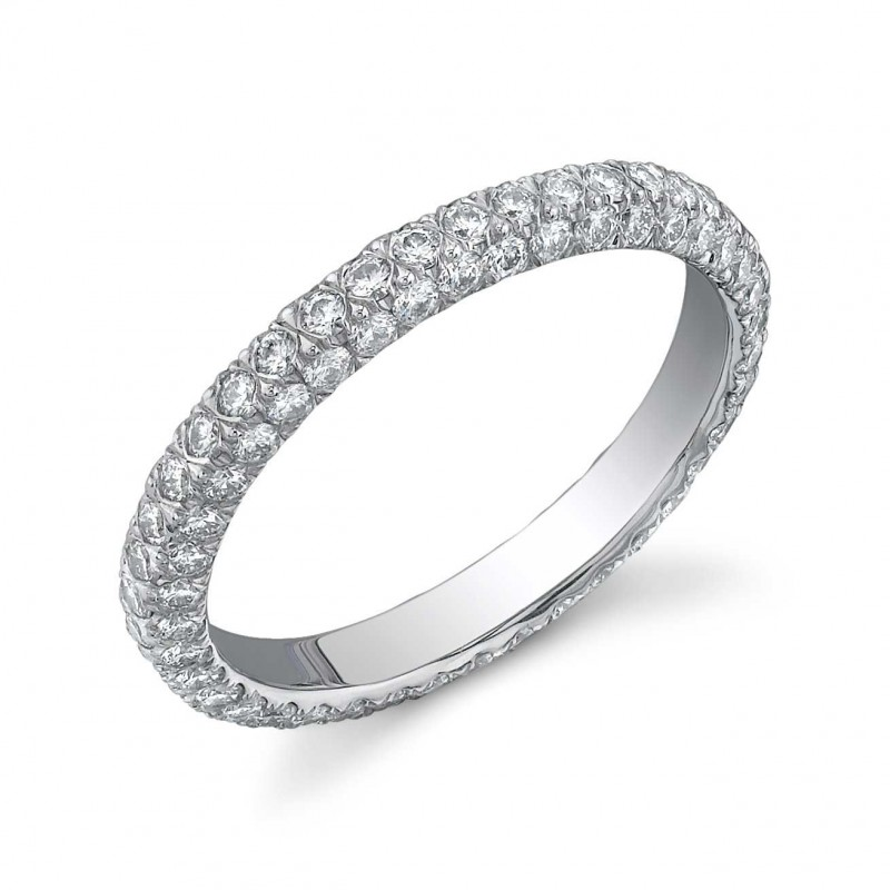 Custom three-sided pave' diamond eternity band