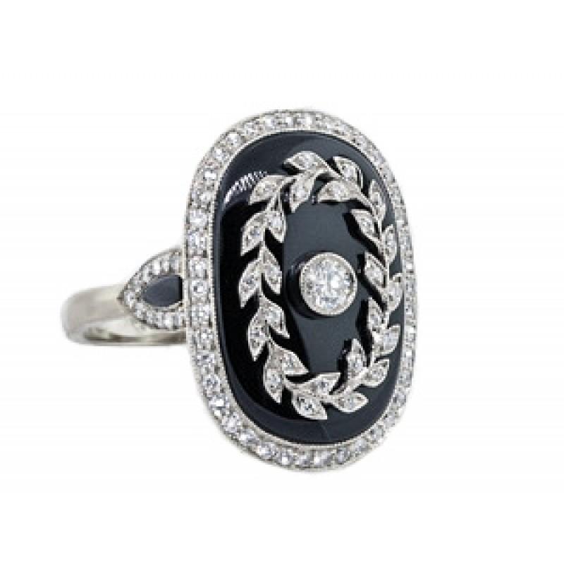 Vintage style black onyx and pave' diamond ring