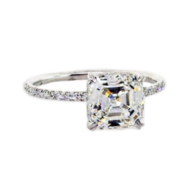 Asscher cut diamond pave solitaire ring