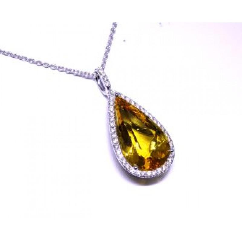 Golden beryl pear pave' diamond halo pendant
