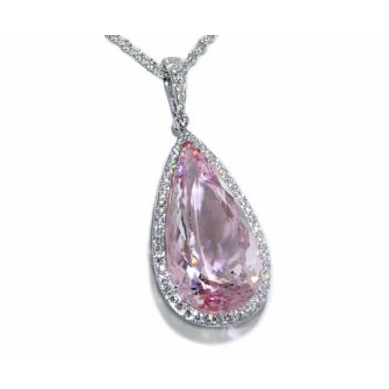 Pear shaped Morganite pave' halo diamond pendant