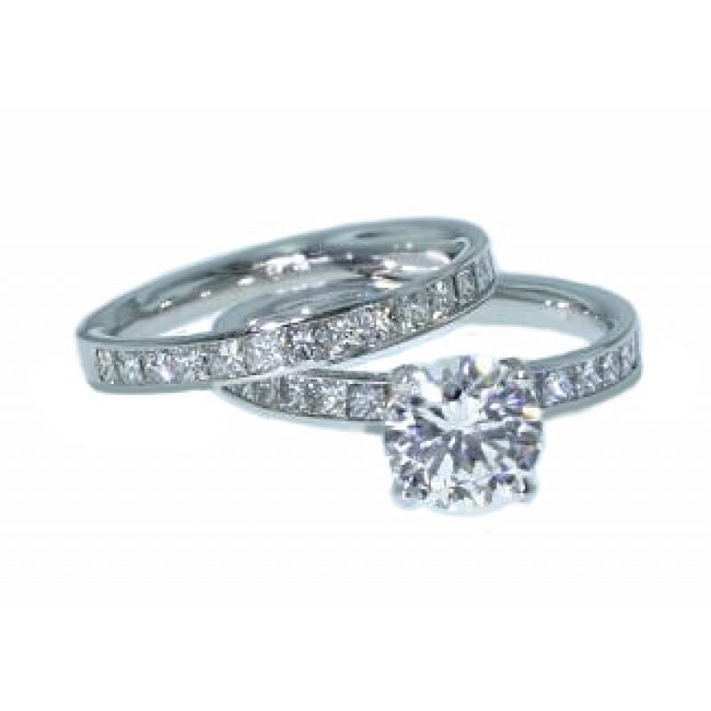 Channel set princess cut diamond wedding set