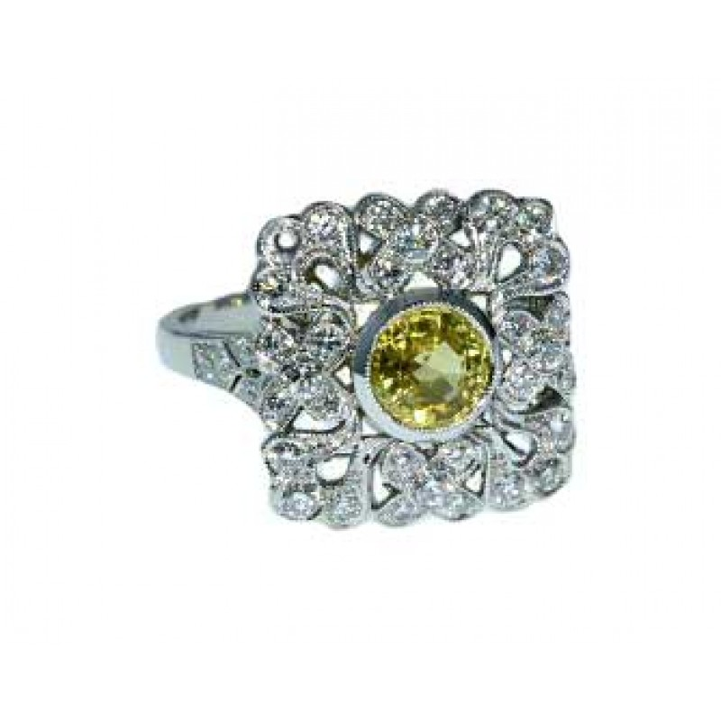 Vintage pierced filigree yellow sapphire ring