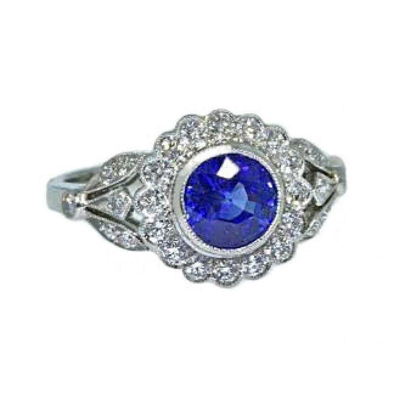 Sapphire floral vintage design pave diamond ring
