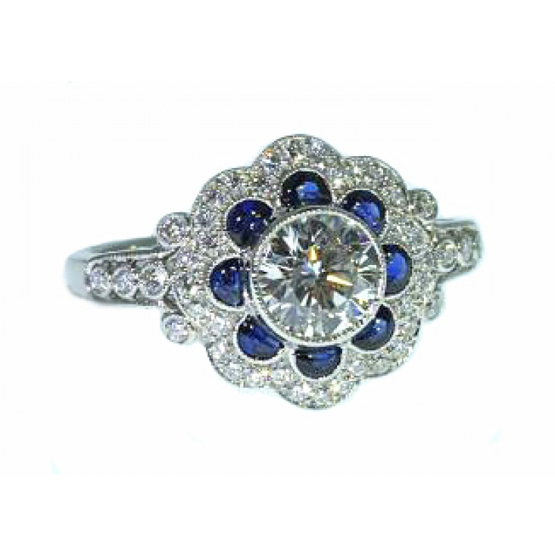 Bezel set diamond blue sapphire vintage milgrained