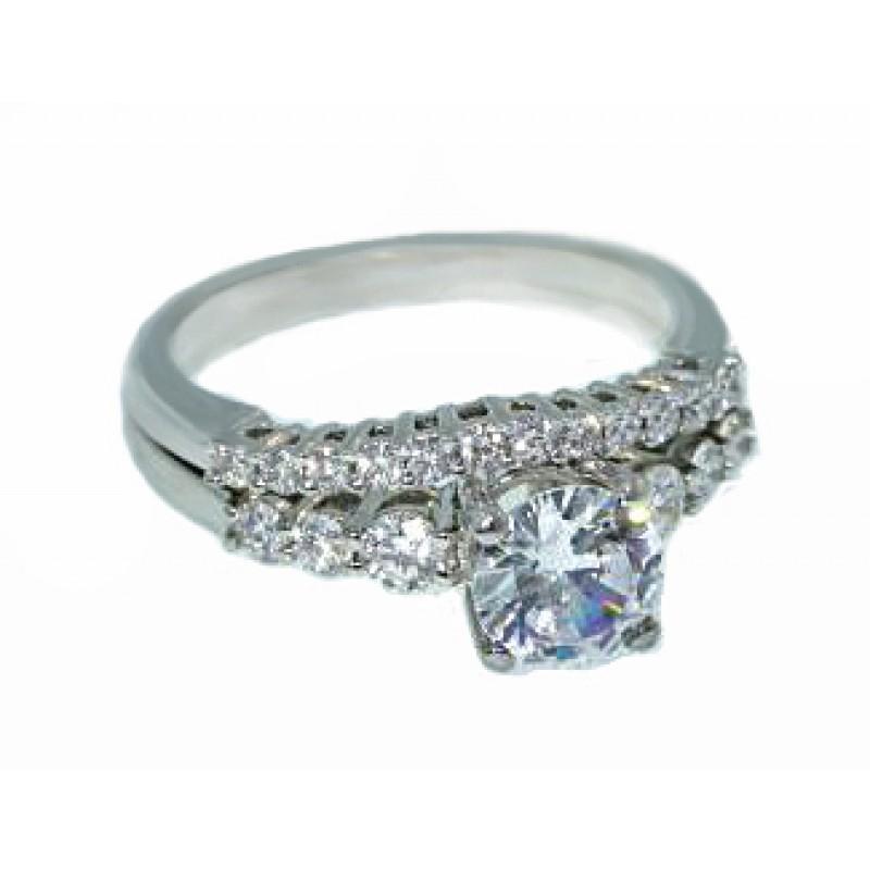 Jeff Cooper prong set diamond wedding set