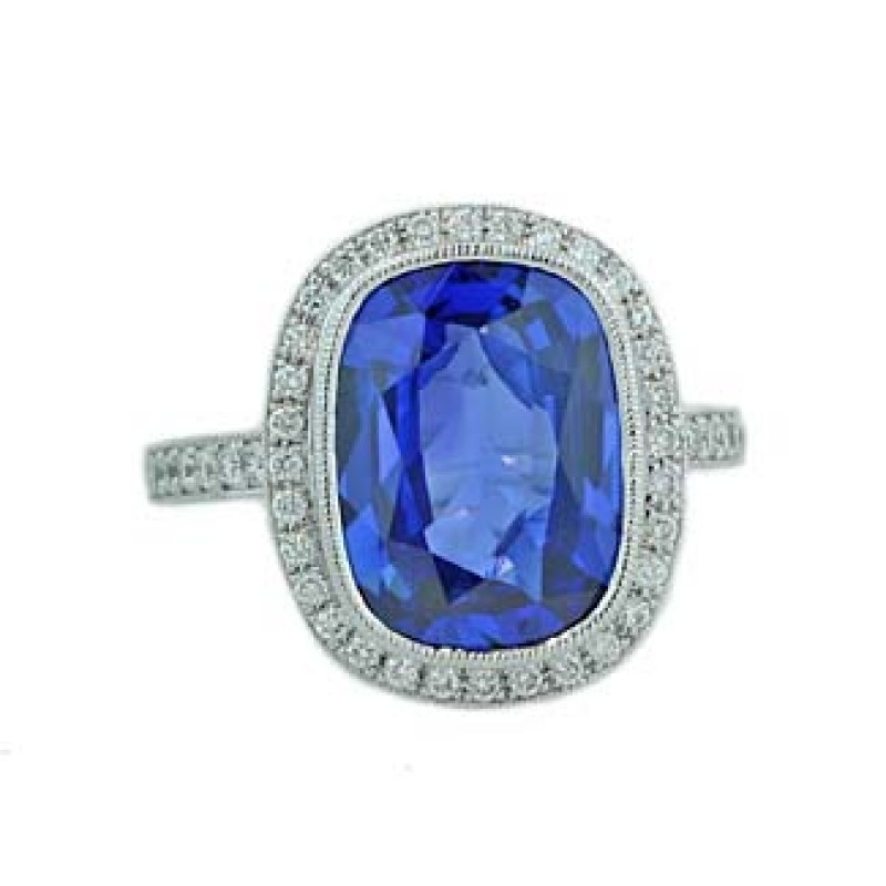 6.13 carat cushion sapphire pave' milgrained ring