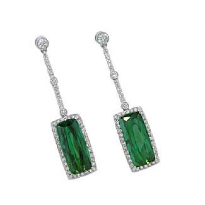 8.5ctw green tourmaline pave' diamond dangle earrings