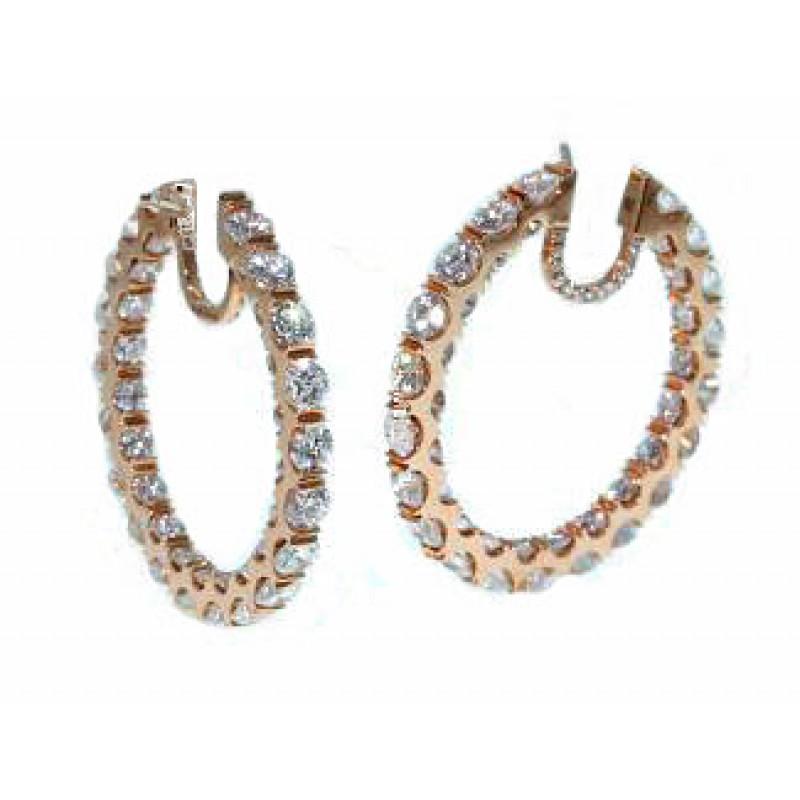 Custom Inside Outside Full Diamond 18k Rose Hoops Hoop Earrings Jewelry