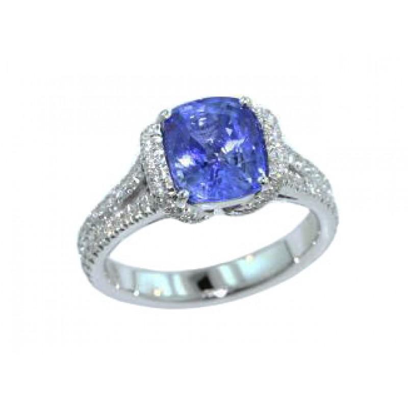 3ct cornflower blue cushion sapphire diamond ring