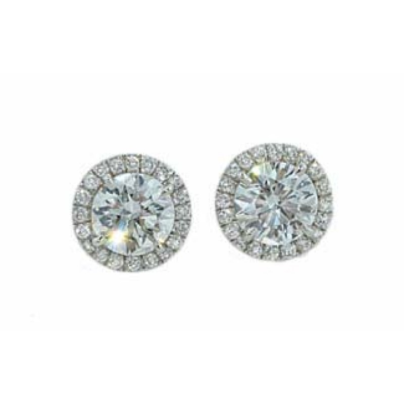 1.16ctw round diamond pave halo border earrings