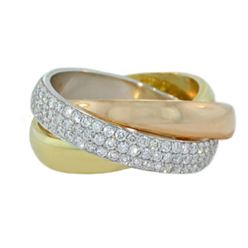 Custom Tri Color Gold Pave Diamond Rolling Ring Jewelry