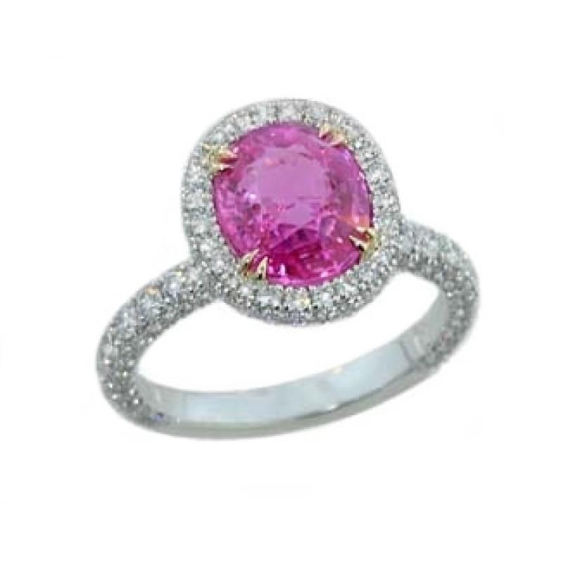 2.93ct oval pink sapphire pave diamond halo ring