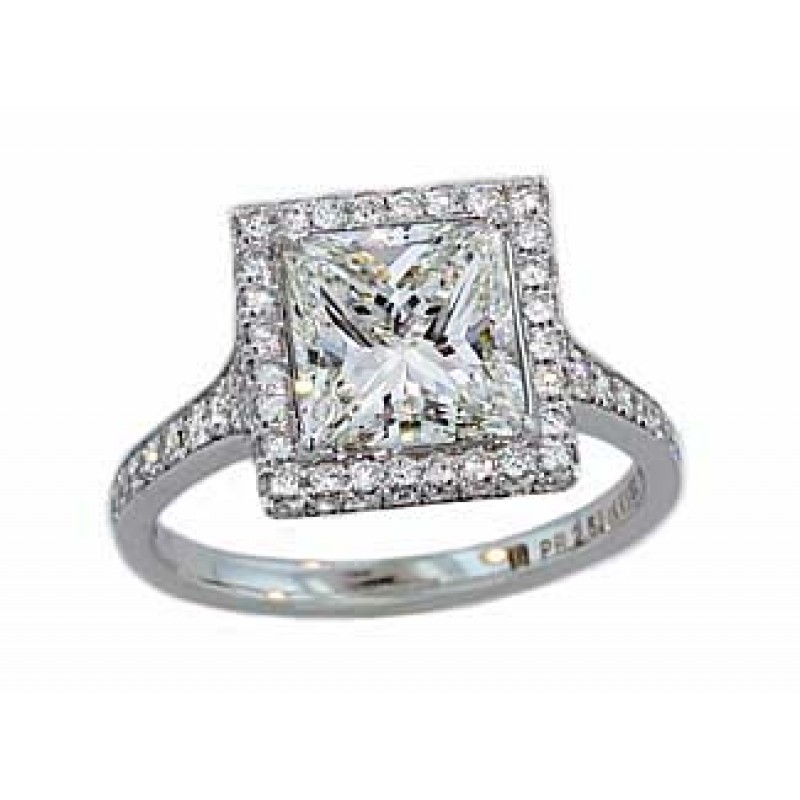 Custom made princess cut diamond pave halo ring