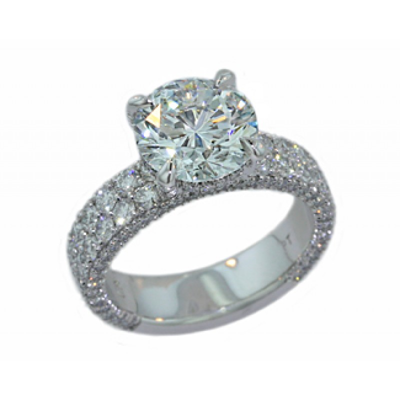 3.01ct F/SI1 two-row wide three-sided pave' diamond