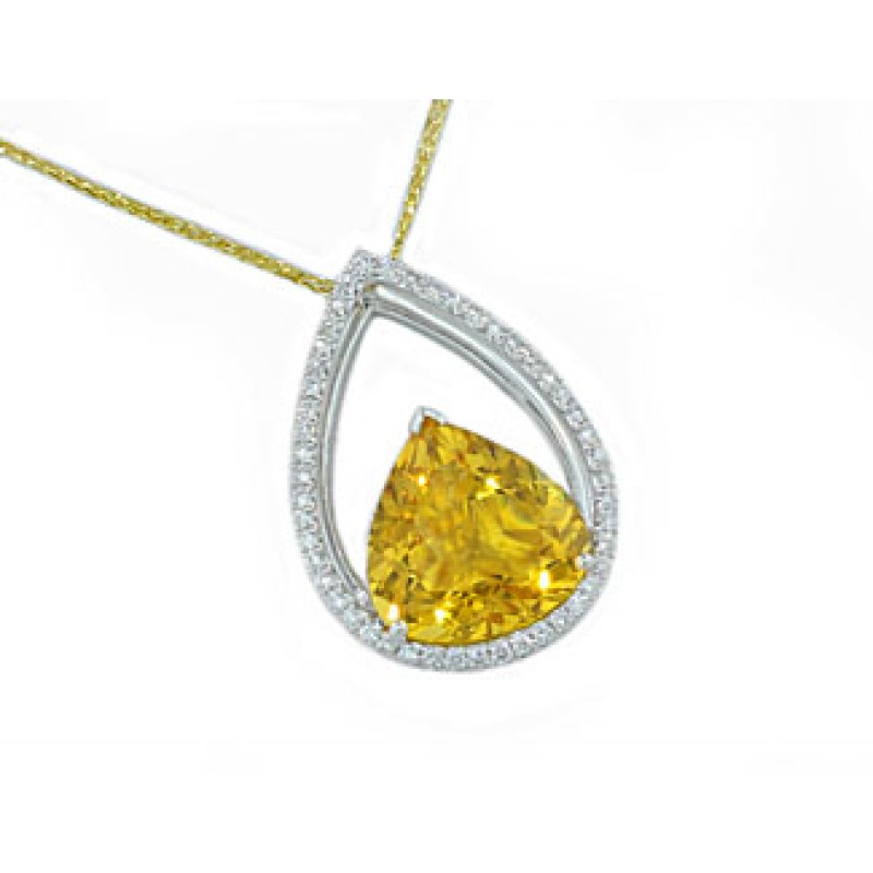 5.82ct Golden Beryl pave diamond halo pendant