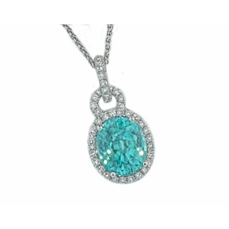 5.28ct blue Zircon pave' diamond halo pendant