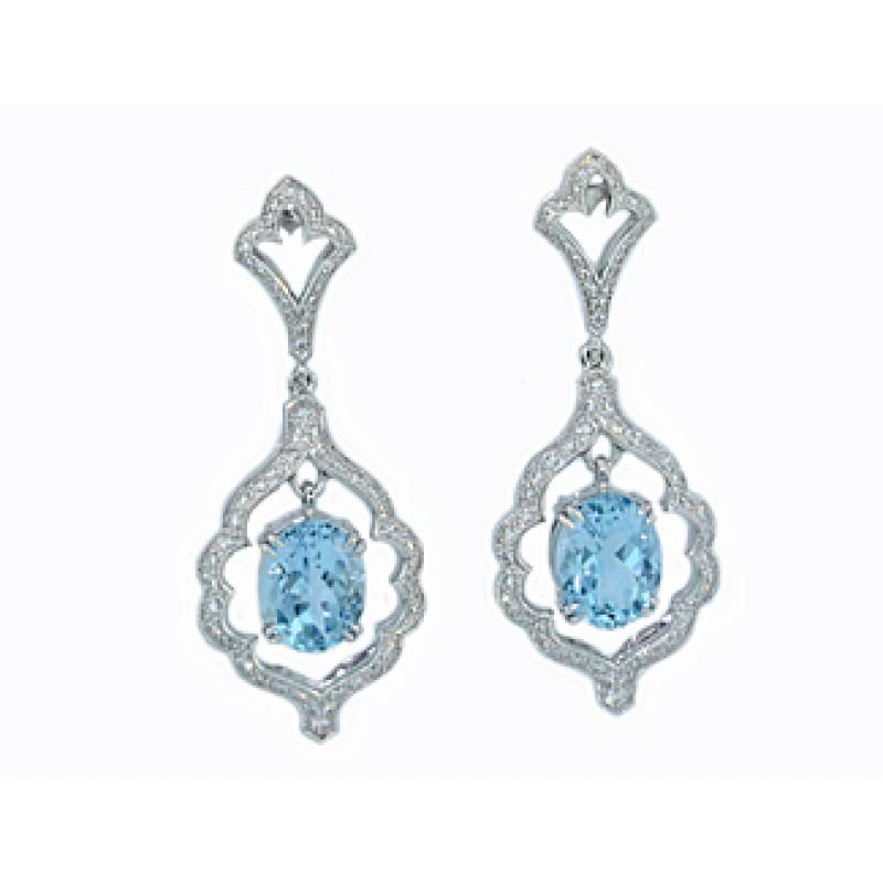 Custom Design Aquamarine Pave Diamond Earrings
