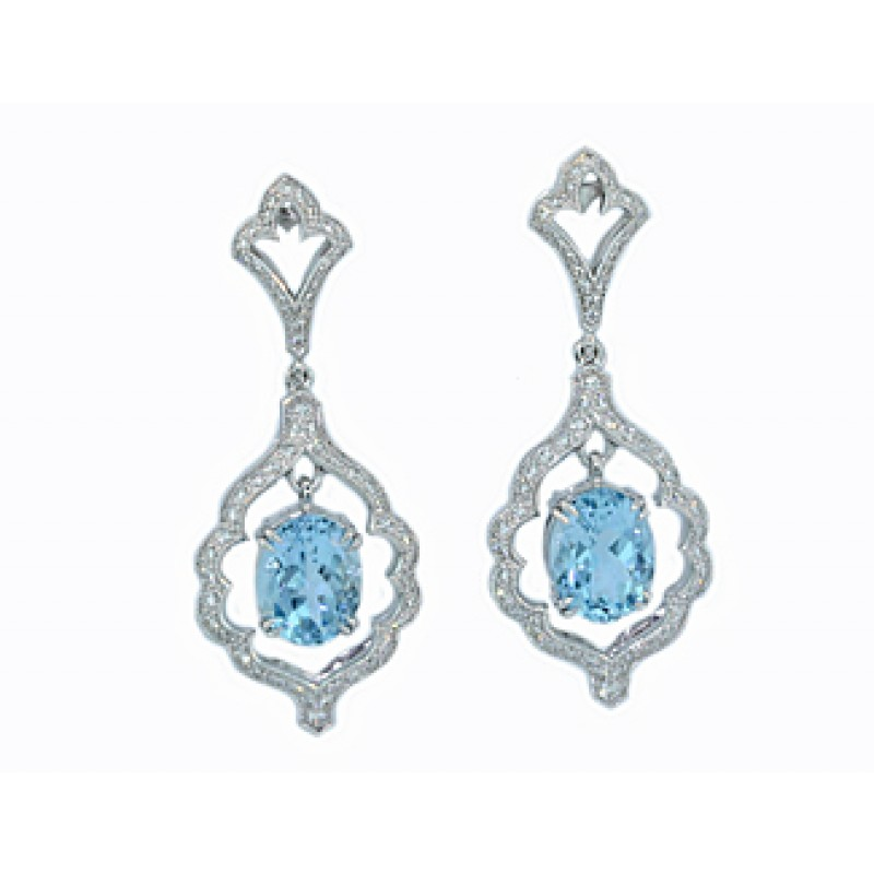 Custom Design Aquamarine Pave Diamond Earrings Earrings Jewelry