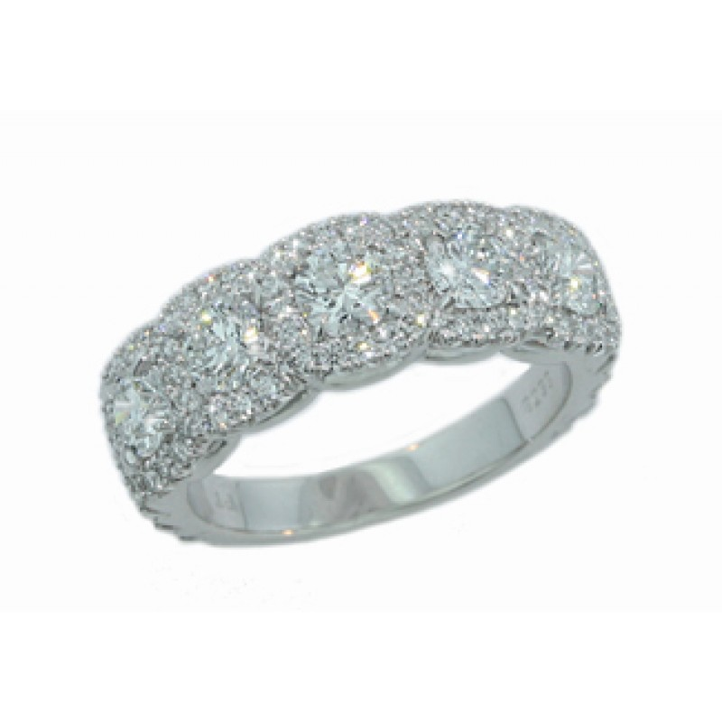 ced744be377 Custom made 5-stone round cushion pave  halo diamond band - Diamond Wedding  Bands - Ladys Wedding Rings - Wedding Rings
