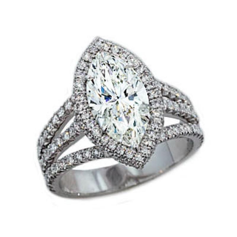 2.27ct marquise diamond pave' halo 3-split shank r