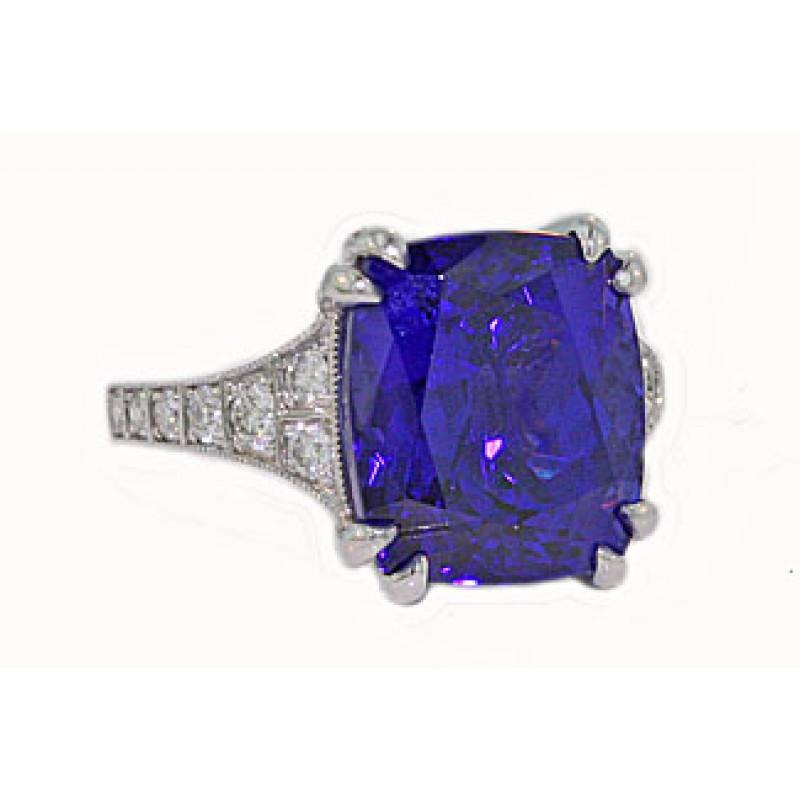 10.68ct cushion Tanzanite and diamond milgrain ring